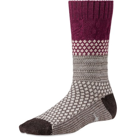 Entertainment The fun women's SmartWool Popcorn Cable socks offer a mix of patterns and textures, bringing lively style and the comfort of wool to your daily adventures. WOW(TM) (wool on wool) technology increases wool content in the heel and forefoot area, improving durability and overall comfort. Cushioned construction delivers comfort for all-day wear; tapered, flat-looped toe boxes elminate bulkiness. SmartWool socks are guaranteed not to itch and can be repeatedly washed and dried without shrinking. *Discount will be applied when you check out. Offer not valid for sale-price items ending in $._3 or $._9. - $9.83