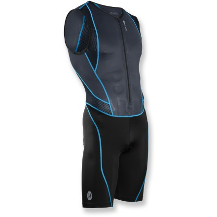Fitness Whether it's your first triathlon or your fiftieth, the Sugoi Turbo tri suit keeps you comfortable from start to finish with high-performance, technical fabrics and race-oriented features. Body fabric is a soft microfiber yarn blended with spandex for moisture-wicking, quick-dry capabilities and comfortable stretch; mesh panels throughout enhance ventilation. Shorts fabric features similar moisture-management properties and offers secure, snug fit without being too tight. Comfortable stretch with a next-to-body, friction-free fit ensures comfort. TRILite chamois combines padded comfort with a quick-drying surface and a run-friendly profile. 18 in. zipper provides immediate ventilation. 2 elasticized mesh back pockets carry fuel. Sugoi Turbo tri suit utilizes flatlock stitching to minimize chafing. Closeout. - $58.73