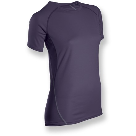 Offering lightweight, breathable fabric your skin will love, the Sugoi Jackie T-shirt can handle tough summer workouts without breaking a sweat-even after you do. Soft, stretchy fabric keeps up with your every move and helps you stay cool and comfortable with moisture-wicking, quick-dry capabilities. Raglan sleeves move the seams off the shoulders to reduce chafing and irritation when you're wearing a pack. Sugoi Jackie T-shirt features a relaxed fit. Closeout. - $13.73