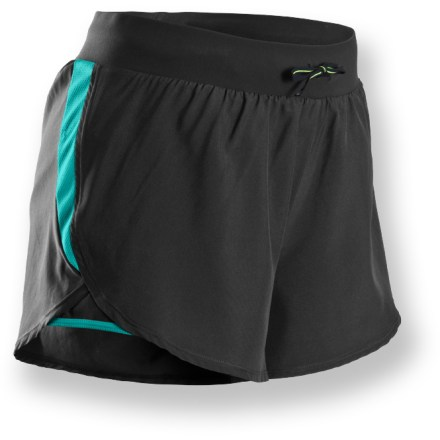 Built for runs that take you far from home, the Sugoi Jackie Distance shorts feature lightweight, breathable materials that keep you comfortable no matter how many miles you go. Polyester fabric provides lightweight breathability that wicks moisture and dries quickly, keeping you comfortable even when working hard; mesh inserts increase ventilation. Wide, smooth waistband lies flat against skin; drawcord allows customizable fit. Polyester liner wicks moisture away from skin and dries quickly for continuous comfort. Sugoi Jackie Distance shorts feature an internal security pocket that safely stows keys, ID or small media player. Closeout. - $14.73