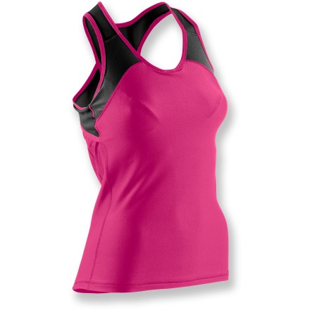 Fitness A tank that looks great and offers high performance, the Sugoi RSR tank top lets you push the pace with smart design features and eye-catching style. Nylon/spandex material wicks moisture and dries quickly, keeping you cool and comfortable even when working hard. Internal polyester/spandex mesh shelf bra aids moisture transfer and provides light support for active pursuits. Racerback with keyhole detail promotes freedom of motion and optimal ventilation. Sugoi RSR tank top features 1 rear elastic stash pocket and 1 rear zippered security pocket, perfect for stowing small essentials like energy gels, ID or media player. Closeout. - $23.73