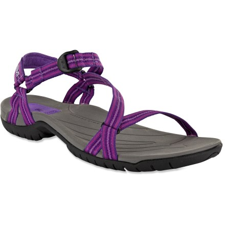 Surf The Teva Zirra sandals feature thin, adjustable straps and reliable traction- they're great for water and land adventures. Thin polyester webbing straps wrap feet for a secure, low-bulk fit for multisport use; rip-and-stick ankle strap adjusts easily. Molded and contoured EVA footbeds supply underfoot comfort. Cushy EVA midsoles ensure plush underfoot comfort for all-day wear; Shoc Pad(TM) units enhance cushioning under the heels. Nylon arch shanks enhance stability and support. Teva Zirra sandals have nonmarking Spider Original rubber outsoles with water-channeling tread pattern for great grip in wet environs. - $29.93