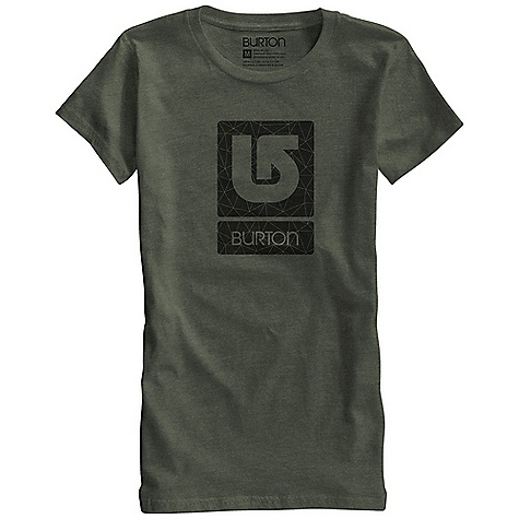 Snowboard Burton Women's Logo Fill SS Tee DECENT FEATURES of the Burton Women's Logo Fill Short Sleeve Tee 50% Cotton, 50% Polyester (Heathers and Heather Blue-Ray) 100% Cotton (All Other Colorways) Silicone Fabric Treatment Screen Print on Front This product can only be shipped within the United States. Please don't hate us. - $22.95