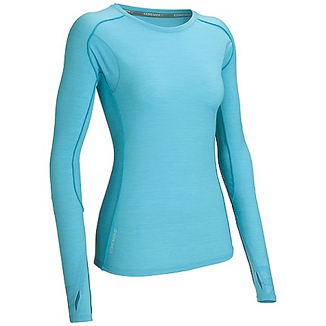 Free Shipping. Icebreaker Women's Flash LS Crewe Top DECENT FEATURES of the Icebreaker Women's Flash Long Sleeve Crewe Top 150gm jersey / 96% merino / 4% lycra Eyelet mesh at chest and back panel for maximum breathability Free seam reverse overlock in contrast colour stitching eliminates seam against skin Stash pocket at back hem stores keys, cash or gels Raglan sleeves for ease of movement Thumb loops Drop tail hem - $99.95
