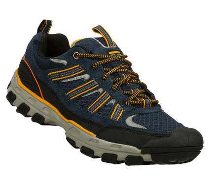 Take on any terrain in the SKECHERS Gander - Dalten shoe.  Soft suede; synthetic and mesh fabric upper in a lace up sporty casual trail oxford with stitching and overlay accents. - $68.00