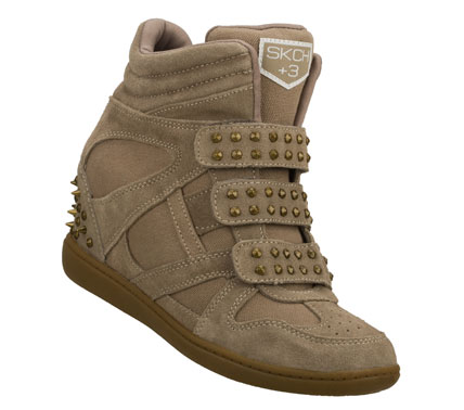 Fun and fashionable style gets a metal edge with the SKECHERS SKCH Plus 3 - Staked shoe.  Soft suede and woven canvas fabric upper in a three strap front hidden wedge casual sneaker with metal stud accents. - $80.00