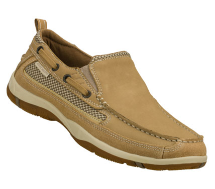 Sail along into easy comfortable style with the SKECHERS Newman - Westen shoe.  Smooth full grain leather upper in a slip on casual boat loafer with stitching and overlay accents. - $68.00