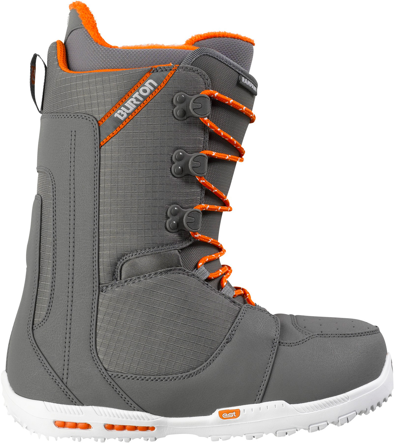 Snowboard Newfound flex and feel in Burton's lightest weight boot.Key Features of the Burton Rampant Snowboard Boots: Support: 4 Shrinkage™ Footprint Reduction Technology Lacing: Traditional Liner: NEW Imprint™ 2 Liner with NEW Lock-Up Cuff, NEW Velcro® Closure System, and NEW Man Fur Cushioning: DynoLite EST™ Optimized Outsole with B3 Gel Flex and Response: Crossbone Upper Cuff, Flex Spine Backstay, and Medium Flex Thin Profile 3D® Molded Tongue Comfort: NEW Total Comfort Construction, Snow-Proof Internal Gusset, and Level 1 Molded EVA Footbed - $149.95