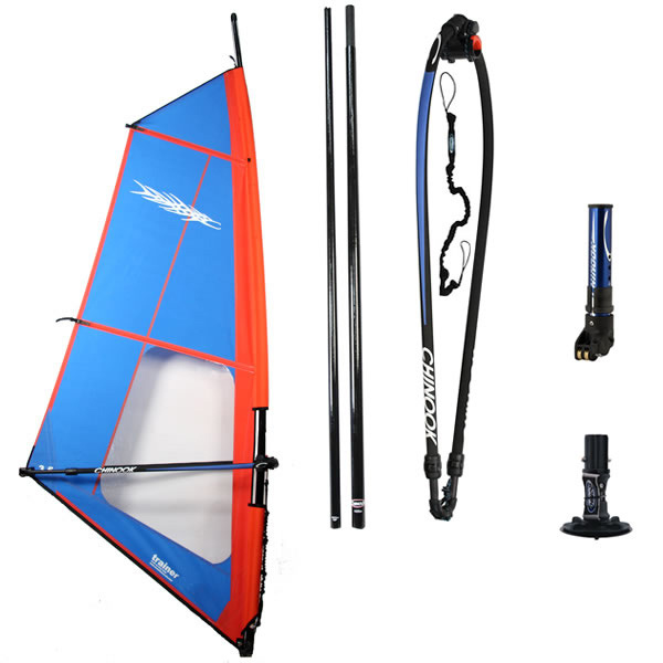 Wake Complete rig designed to make learning to windsurf easy. Dacron material for superior durability against wear and UV rays. Comes with Ezzy built sail, 2-piece epoxy, Chinook Kid or Competition boom, mast base, mast extension, and uphaul. Kid size Trainers 2.0, 2.5, 3.0 Adult Trainers 3.5, 4.0, 4.5, 5.0 - $595.00