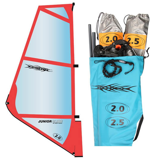 Wake Two Sail Package! The Junior Glide kids rig is a simple and durable design. It is so light that kids become comfortable light wind sailors in the first hour or two. Includes 2-Sails, 2pc alloy mast, Chinook kid boom, 1-Bolt Mechanical Mast Base, extension, uphaul. 1.0-1.5 - $326.00