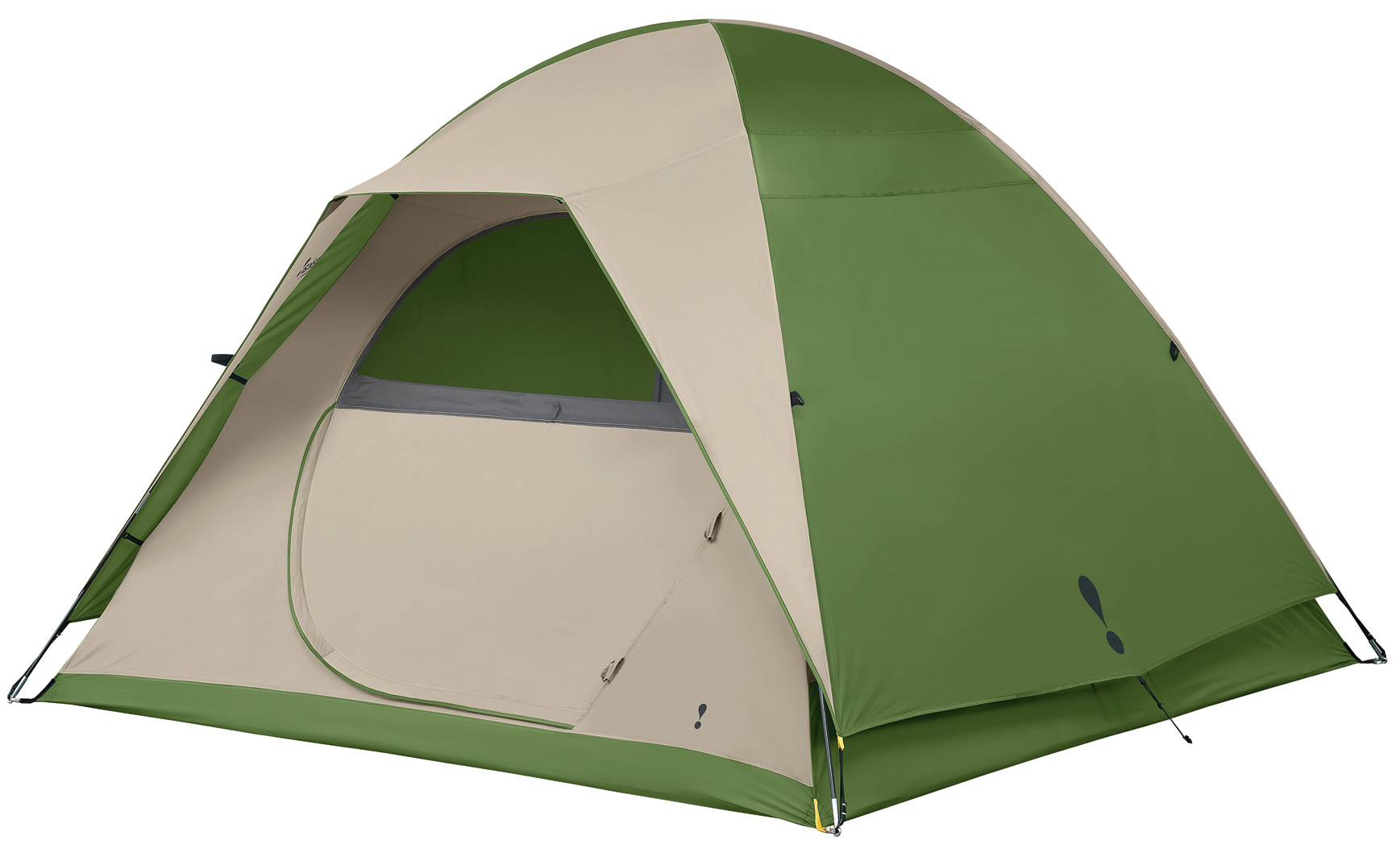 "Camp and Hike Designed for the occasional camper, this five person sized, freestanding dome tent offers easy set-up for convenient weekend campouts.Key Features of the Eureka Tetragon 5 Person Tent: The fly features 2 fly rods that form a brim over the door for protection from the elements and to add strength and stability to the tent. The tent's free standing and shockcorded fiberglass frame is lightweight and easy to set up. Clips secure the tent body to the frame. One side opening, twin track door, consisting of a no-see-um mesh panel and a fabric panel, allows flexibility for venting & insect protection. A zipper cover on the door provides protection from water. Two interior pockets keep essentials close at hand. A gear loft provides extra storage overhead. Matching yellow webbing on tent & fly couple with the ring & pin assembly to make set up fast. Bathtub floor wraps up sides of tent, protecting against splashing and standing water. Sleeps 5 Floor Size 9' x 9' Pack Size 6"" x 28"" Min Weight 12 lbs 6 oz Seasons 3 Tent Area 81 sq ft Center Height 6' Frame 11 mm fiberglass, ring & pin Vents Mesh roof panels Doors 1 Windows 2 Vestibules N/A Vestibule Area N/A Gear Loft 1 Included Gear Loft Loops 4 Flashlight Loop 1 Storage Pockets 2 Wall 75D 185T polyester taffeta, 800 mm coated Fly 75D 185T polyester taffeta, 800 mm coated Floor 75D 210T polyester taffeta, 800 mm coated Mesh 50D polyester no-see-um - $156.95"