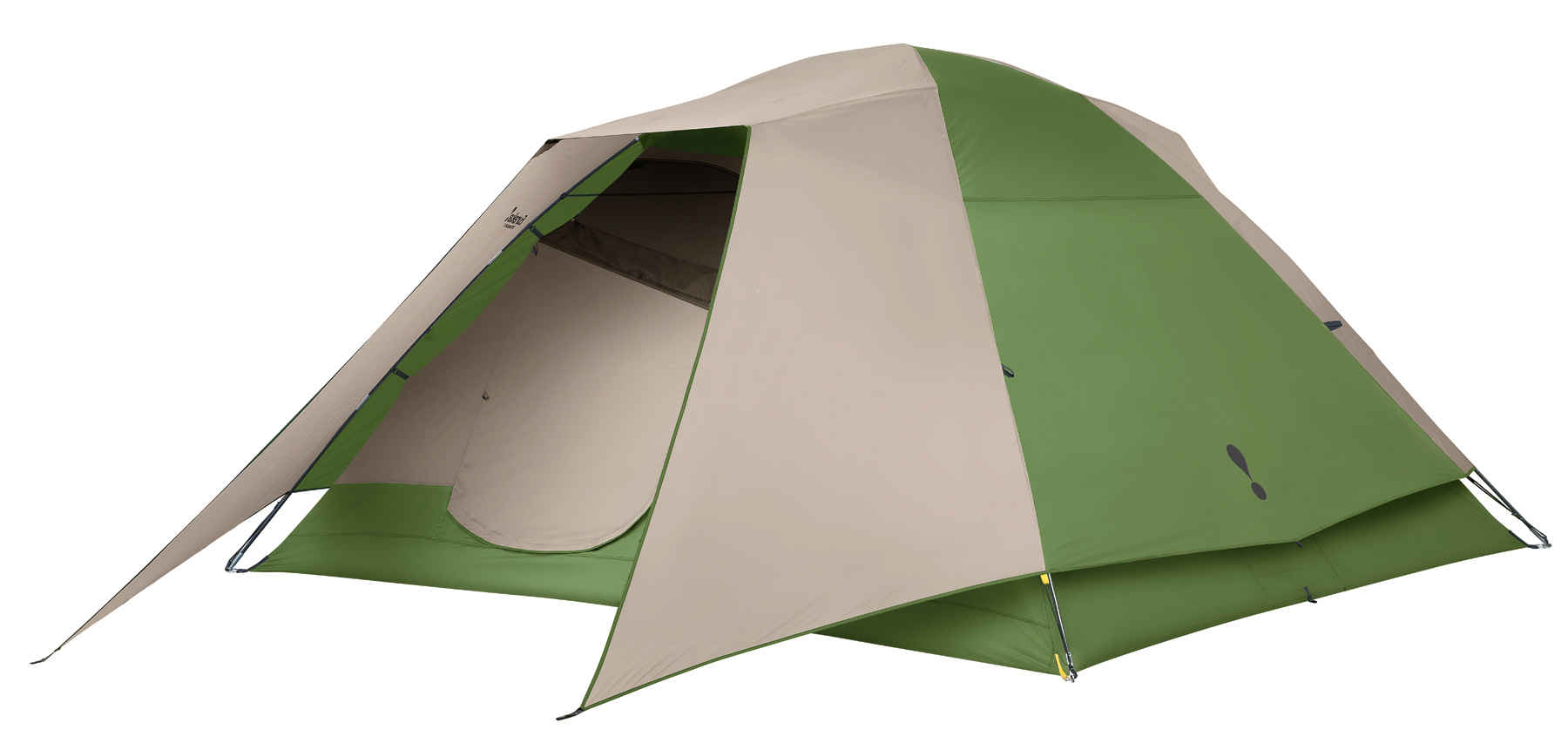 "Camp and Hike Designed for the occasional camper, this eight person sized freestanding dome tent offers easy set-up for convenient weekend campouts.Key Features of the Eureka Tetragon 8 Person Tent: The fly features 2 fly rods that form a brim over the door for protection from the elements and to add strength and stability to the tent. The tent's free standing and shockcorded fiberglass frame is lightweight and slides easily through fabric sleeves for fast set up. Clips secure the tent body to the frame. Two side-opening, twin-track doors, each consisting of a no-see-um mesh panel and a fabric panel, allow flexibility for venting & insect protection. Zipper covers on the doors provide protection from water. Two interior pockets keep essentials close at hand. A gear loft provides extra storage overhead. Matching yellow webbing on tent & fly couple with the ring & pin assembly to make set up fast. Removable zippered divider creates two rooms for privacy and rolls back to reveal one large room. Bathtub floor wraps up sides of tent, protecting against splashing and standing water. Sleeps 8 Floor Size 12' x 10' Pack Size 8"" x 30"" Min Weight 20 lbs 2 oz Seasons 3 Tent Area 120 sq ft Center Height 6' 4"" Frame 12.7 mm fiberglass, ring & pin Vents Mesh roof panels Doors 2 Windows 4 Vestibules N/A Vestibule Area N/A Gear Loft 1 Included Gear Loft Loops 4 Flashlight Loop 1 Storage Pockets 2 Wall 75D 185T polyester taffeta, 800 mm coated Fly 75D 185T polyester taffeta, 800 mm coated Floor 75D 210T polyester taffeta, 800 mm coated Mesh 50D polyester no-see-um - $223.95"