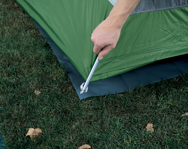 "Camp and Hike Protective base. Placed beneath the tent, a floor saver protects the tent's floor from damage by rocks or roots, keeps the bottom clean for packing, and adds an extra layer of protection from water. Heavy-duty 6mil polyethylene. Pre-sized to fit shape of tent floor. Size: 6' 8"" x 6' 8"" - $11.95"