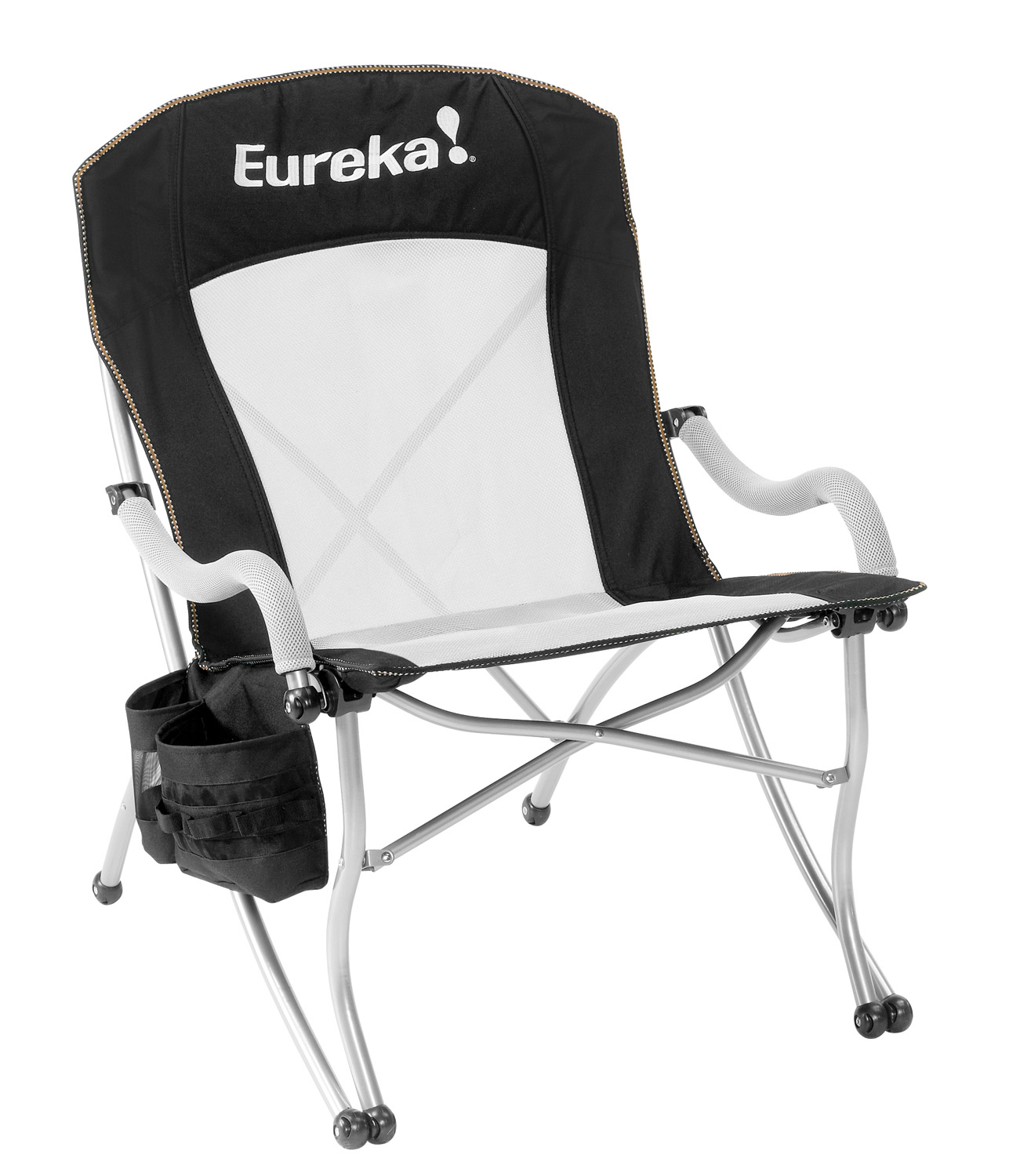 "Camp and Hike Key Features of the Eureka Curvy Camp Chair: The frame is constructed of powder coated steel for long lasting durability. This sling-style chair offers relaxed, comfortable seating for extended periods. Comfort enhancing features include 3D spacer mesh in the seat and lumbar panel to keep you cool, foam padding in the seat and headrest, and padded armrests. The side pocket includes a beverage holster, a storage bin for a book, MP3, phone, or snack, plus a 6 loop webbing daisy chain for clipping keys. Size34.5"" x 26"" x 37.75"" Weight Capacity225 lbs Carry Weight11 lbs 9 oz - $69.95"