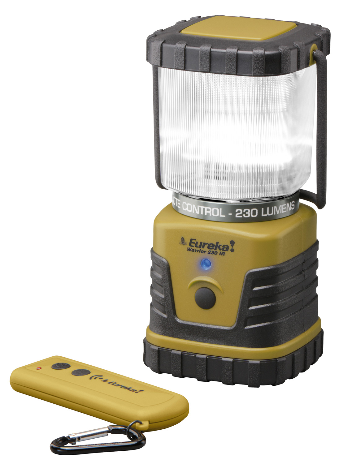 "Camp and Hike Lighting is an integral part of the nighttime campsite, and for 2012, Eureka! expands our collection of portable lighting with the introduction of the Warrior 230 lantern. Unique to this lantern is an infrared remote for easy operation of the lantern, especially if it is hanging in a tent or on a pole. Adding further value, the remote performs double-duty as a small LED ? ashlight. The compact Warrior 230 runs on 3 D-size batteries, producing 230 lumens for 50 hours when on high. This is enough run time for a several day trip without having the be concerned about battery life.Key Features of the Eureka Warrior 230 w/ Remote Control Lantern/Flashlight: Bright, compact, long running versatile lantern for camping and general outdoor use Manual or remote control operation 100% - 10% dimming control SOS ? ash mode Infrared remote control makes operation easy and also functions as a ? ashlight Durable housing for years of performance Built-in recessed hook on lantern base for hanging Water resistant 3 x 1.5V D size alkaline batteries (not included) 2 AAA Duracell batteries included for remote Lumen Output 230/15 LED type Nichia Run Time (high/low/? ash) 50/200/200 hours Battery type 3 D Dimensions 3.4"" x 3.4"" x 7.3"" Weight with batteries 30.26 oz. Remote Control Yes Regulated Circuit Yes IPX Rating 4 ANSI/NEMA FL 1-2009 Compliant - $59.95"