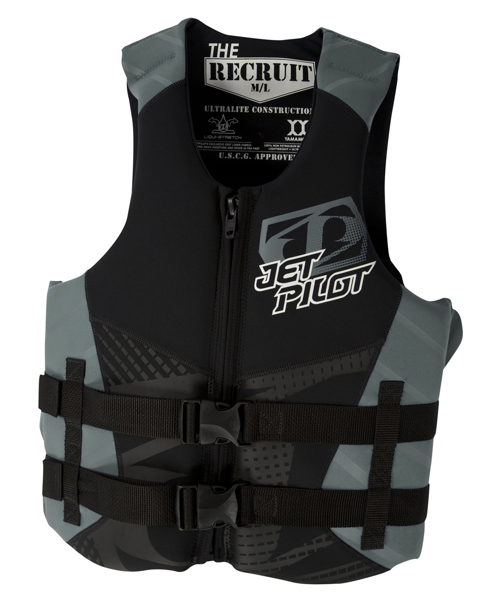 Wake The 2-buckle closure and classic front zip design prove that you don't need any new tricks to make an awesome product. You're getting all that and more with the Jet Pilot Recruit Neo CGA Wakeboard Vest. It comes with a U.S. Coast Gurad approved rating which means that you will be safe without worry. Key Features of the Jet Pilot Recruit Neo CGA Wakeboard Vest: 2-Buckle closure Classic front zip design Durable Mesh drainage gussets Screen printed branding Hidden Webbing U.S. Coast guard approved - $34.95