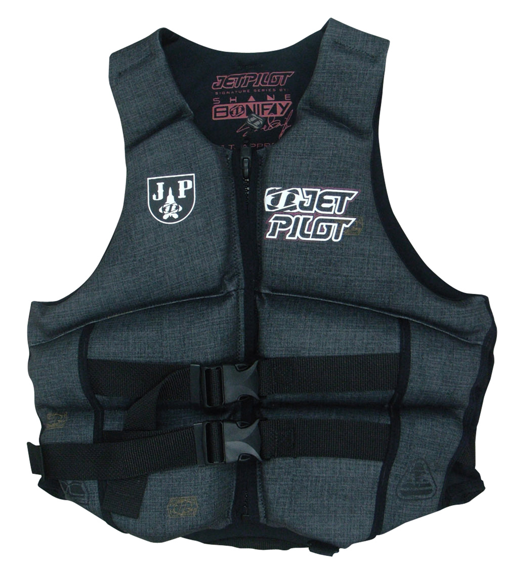 "Wake Key Features of the Jet Pilot S. Bonifay CGA Wakeboard Vest: Shane Bonifay's signature model Shane Bonifay signature graphics 2-Buckle closure hidden webbing Segmented flex panels Super Lightweight low bulk design Side expansion panels ""Denim"" Look U.S. Coast guard approved - $72.95"
