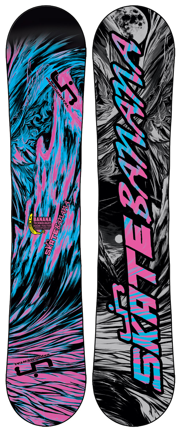 "Ski Award winning, rips everything, easy to ride, easy to turn, catch-free and forgiving, floats incredibly in powder, is unreal for jibbing, poppy freestyle fun, handcrafted in the USA, for first timers to pros. Banana Tech snowboards specific geometries reverse a snowboard's ""pressure map"", shifting your weight from your feet inward to the center of your board where balance is controlled. Some weight is still transferred to the tips and tails and full contact is maintained for control and stability but far less than is the case with tip-to-tail ski style camber where the tips and tails are the focus of all weight distribution, making a board catchy and difficult to ride. This board has some minor cosmetic defects-nothing that affects the performance Key Features of the Lib Tech Skate Banana BTX Snowboard: Banana Technologies and Magne-Traction (BTX) Twin geometries H-Pop core with banana specific core profile Power transfer internal sidewalls Too many awards to list Sintered base Flex: 4.5 - 6 (depending on size) - $342.95"