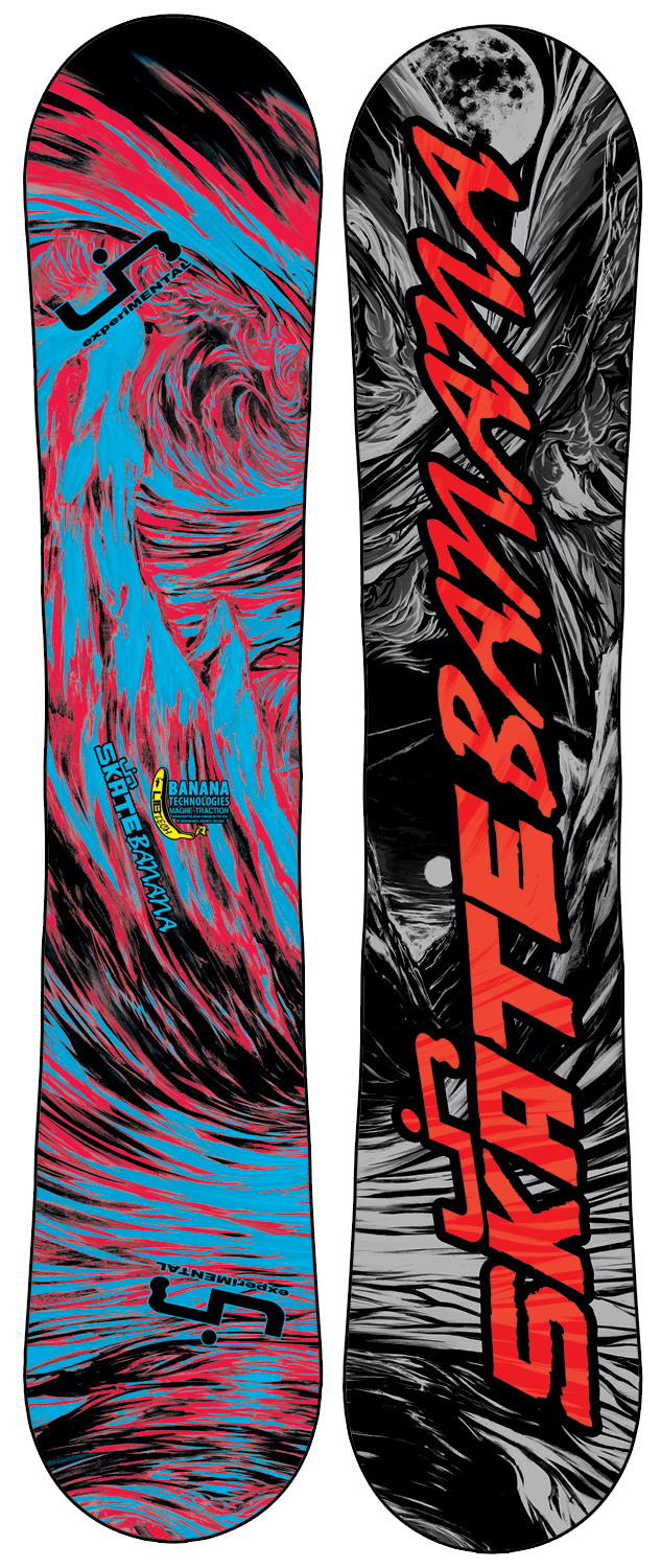 "Ski Award winning, rips everything, easy to ride, easy to turn, catch-free and forgiving, floats incredibly in powder, is unreal for jibbing, poppy freestyle fun, handcrafted in the USA, for first timers to pros. Banana Tech snowboards specific geometries reverse a snowboard's ""pressure map"", shifting your weight from your feet inward to the center of your board where balance is controlled. Some weight is still transferred to the tips and tails and full contact is maintained for control and stability but far less than is the case with tip-to-tail ski style camber where the tips and tails are the focus of all weight distribution, making a board catchy and difficult to ride. This board has some minor cosmetic defects-nothing that affects the performanceKey Features of the Lib Tech Skate Banana BTX Snowboard: Banana Technologies and Magne-Traction (BTX) Twin geometries H-Pop core with banana specific core profile Power transfer internal sidewalls Too many awards to list Sintered base Flex: 4.5 - 6 (depending on size) - $342.95"