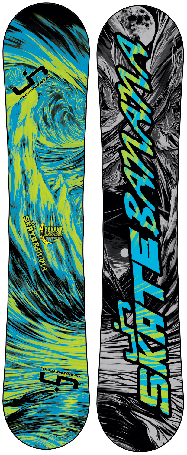 "Ski Award winning, rips everything, easy to ride, easy to turn, catch-free and forgiving, floats incredibly in powder, is unreal for jibbing, poppy freestyle fun, handcrafted in the USA, for first timers to pros. Banana Tech snowboards specific geometries reverse a snowboard's ""pressure map"", shifting your weight from your feet inward to the center of your board where balance is controlled. Some weight is still transferred to the tips and tails and full contact is maintained for control and stability but far less than is the case with tip-to-tail ski style camber where the tips and tails are the focus of all weight distribution, making a board catchy and difficult to ride. This board has some minor cosmetic defects-nothing that affects the performanceKey Features of the Lib Tech Skate Banana BTX Wide Snowboard: Banana Technologies and Magne-Traction (BTX) Twin geometries H-Pop core with banana specific core profile Power transfer internal sidewalls Too many awards to list Sintered base Flex: 4.5 - 6 (depending on size) Length (cm): 153W, 156W, 159W Effective Edge (cm): 114 (153W), 117 (156W), 120 (159W) Tip/Tail Width (cm): 29.9 (153W), 30.5 (156W), 30.7 (159W) Waist Width (cm): 26.1 (153W), 26.5 (156W), 26.5 (159W) Sidecut (m): 8.2 (153W), 8.3 (156W), 8.4 (159W) - $366.95"