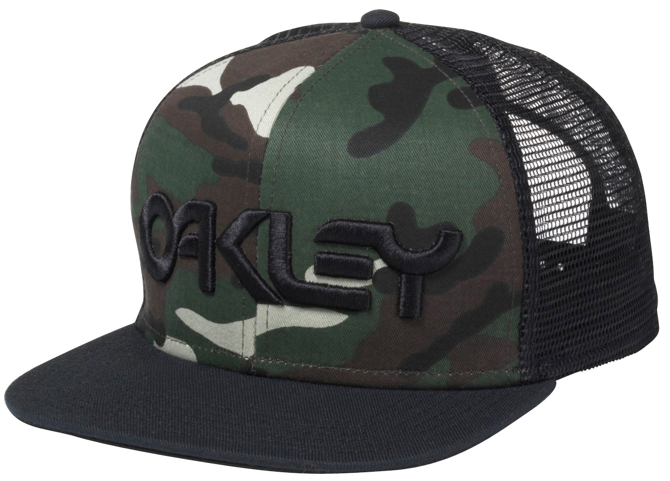 Oakley Classic fit adjustable snap back cap with structured polyester mesh back, subtly contoured brim and 3D logo embroidery on crown - $25.00