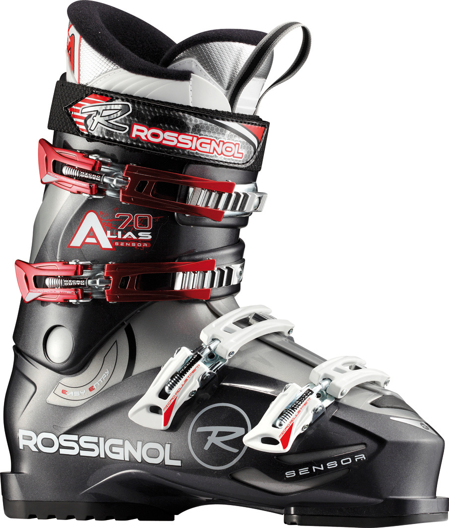 "Ski Introducing the latest Sensor boot with a 104mm ""wide"" fit. This new Sensor shell is based off the highly successful Sensor3 (100mm) and Sensor; (102mm) with a wider ""V"" shape in the forefoot, modern toe box, accommodating instep, articulate ankle pocket and strong heel cup. By combining the asymmetrical toe box, versatile-fitting instep and more articulate ankle area, the all new Sensor simply fits more feet well and delivers more control than any other 104mm boot on the market.Key Features of the Rossignol Alias Sensor 70 Ski Boots: The Sensor shell uses a boot board that connects the three key receptor points to the boot sole. The direct link with the stiffer bi-injected lower shell produces enhanced power, control and feel. Neutral stance delivers more control, better balance and minimizes fatigue. Neutral stance includes a laterally neutral cuff, 4.5 degree ramp angle and 14 degree forward lean. Notches in the plastic along the instep allow for easy entry and exit without compromising four buckle overlap boot performance. Sensor Fit Liner: Solves all the common problem fit issues. Sensor Fit simply fits more feet better. Last: 104mm Flex: 70 Size: 24.5-33.5 Shell: Polyolefin Padding: EVA Machined - $139.95"
