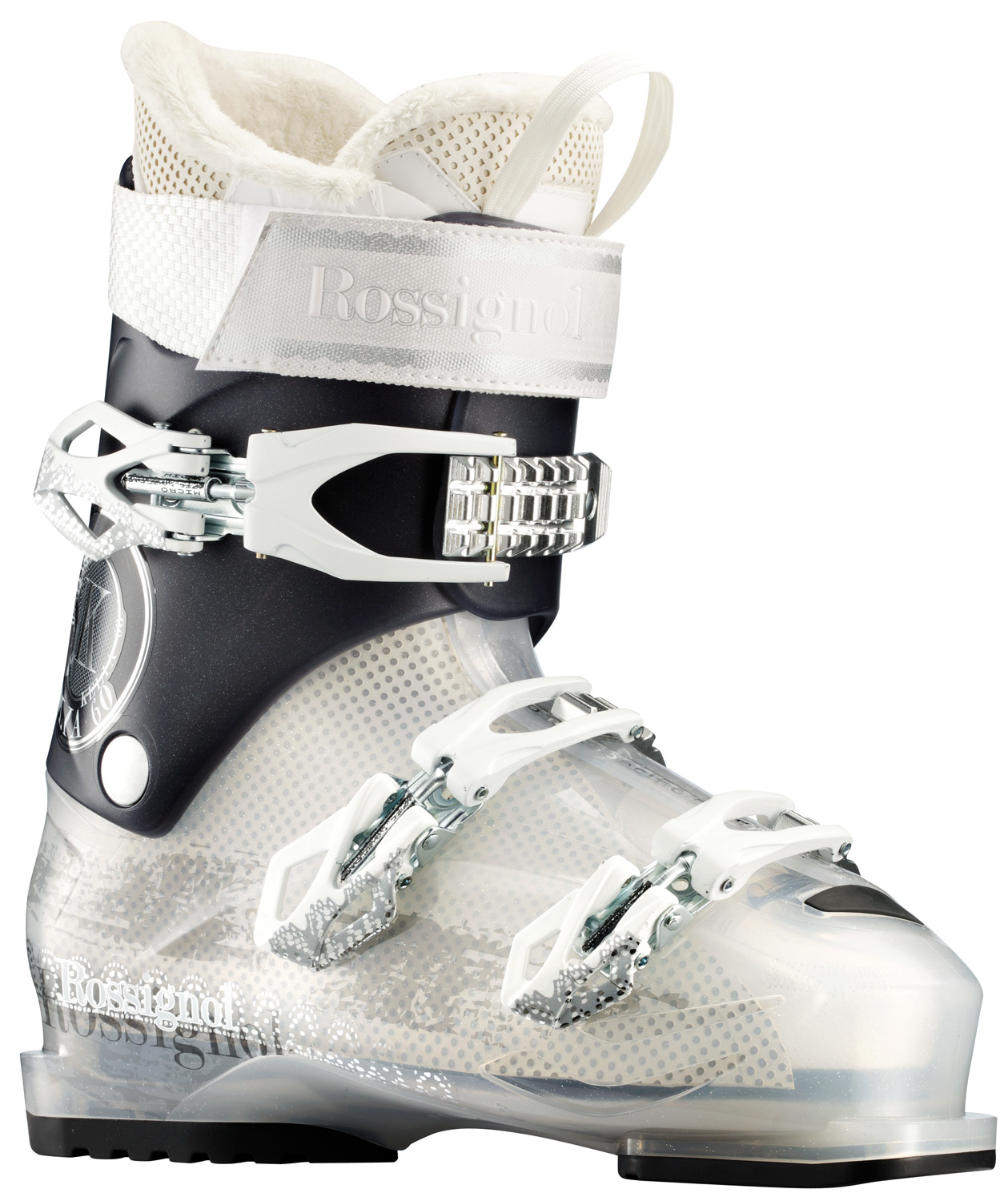"Ski Women's Sensor boots have a 104mm ""wide"" fit based on the 100mm Women's Sensor. Sensor shells feature a 4mm wider ""V"" shape in the forefoot, preserving the contoured fit, strong heel cup and asymmetrical toe box. Sensor Fit liners provide an open instep and accommodating ankle area, increasing comfort, performance and warmth. Available in 80 to 50 flex ranges, Women's Sensor boots are perfect for intermediate to novice skiers who want confident all-mountain performance and a generous fit.Key Features of the Rossignol Kelia 60 Ski Boots Transparent: last : 104 mm FLEX : 60 MATERIAL : NEW POLYOLEFINE PADDING : MACHINED PU - $139.95"
