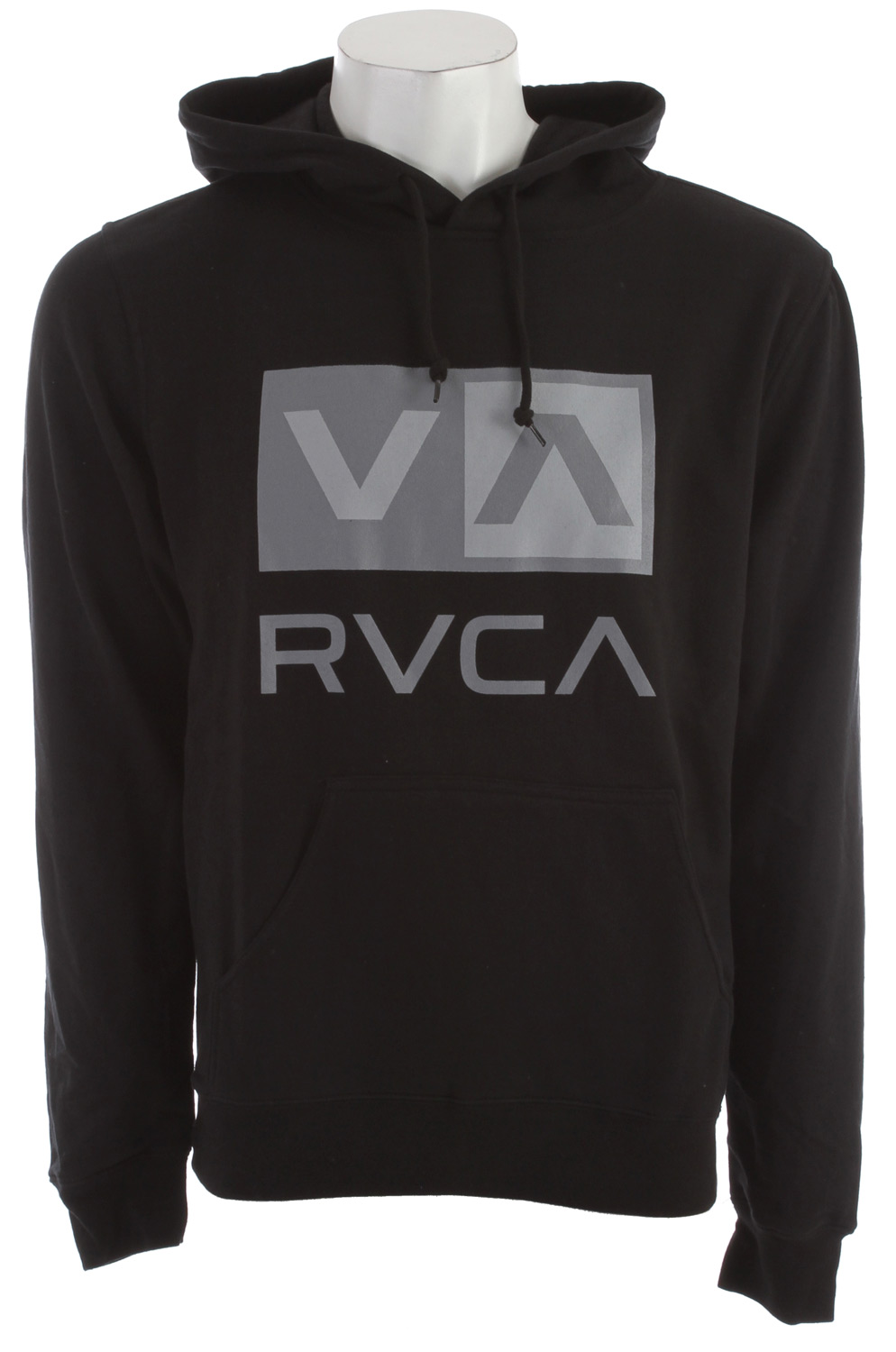 Key Features of the RVCA RVCA Balance Box Hoodie: 80% Cotton/20% Polyester lightweight fleece hooded pullover. Rib cuffs and waistband. Screen print front and inside neck. - $49.50