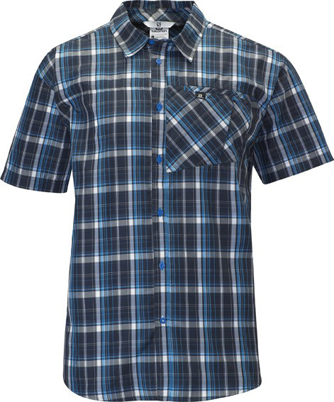 Camp and Hike Light weight, breathable, wrinkle free and comfortable short sleeve button down shirt for everyday life adventures.Key Features of the Salomon Checks Shirt:  Climauv 40   Actilite  1 Chest Pocket  Body: PA 58%/ EL 42%  Active Fit  140G/ 4.94 oz - $40.95