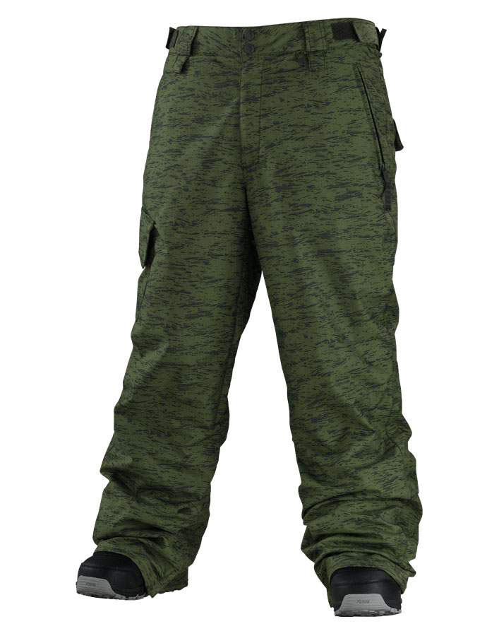 Snowboard Want to look like a soldier going to attack the slopes like they're the Taliban instead of a casual boarder just there to glide down a hill or two? These Special Blend Empire Snowboard Pants in Shredded Burnt Green are just for you,they are waterproofed to a 5,000 rating, with fully taped and vented seams and single pocket for your valuables. The Bootlace hooks let you attack your boots to the shell to keep all the moisture out of your gear.Key Features of the Special Blend Empire Snowboard Pants: 5,000mm Waterproof 5,000g Breathability Cirrus Group Shell Pant Freedom Fit Dobby Weave Fully Taped Seams Right Cargo Pocket Taffeta Lining Boot Gaiters with Bootlace Hooks Exterior Adjustable Waistband Pop and Lock Hem Adjuster Brushed Tricot Interior Fly and Waistband Inseam Venting Special Blend Ticket Ring Key Clip - $61.95