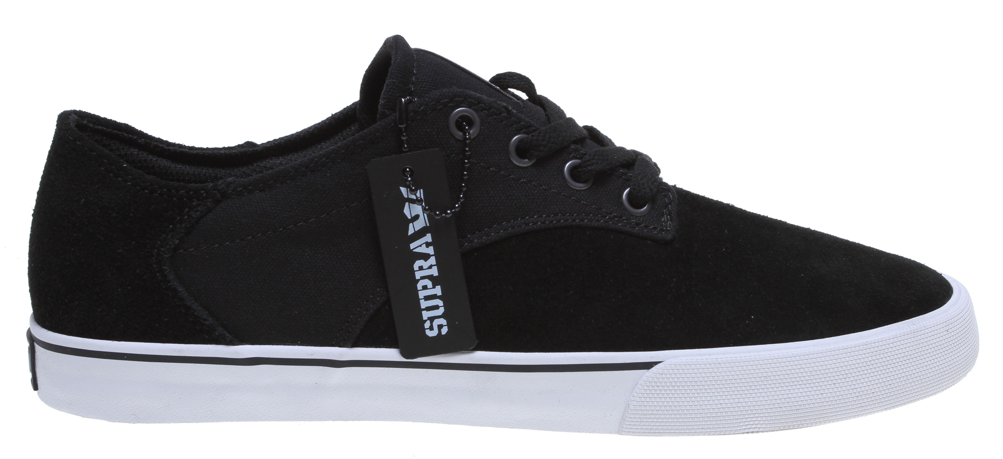Skateboard The newest SUPRA team model is a modern take on the traditional low top, skate shoe design with a short eyestay and long vamp. The vulcanized sole provides excellent traction and superior board feel. - $41.95