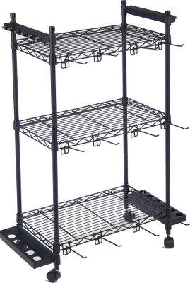 Fishing Keep rods, reels, tackle and more safely and efficiently organized on theOrganized Fishing Tackle Trolley. Three adjustable wire shelves allow you to customize the space for tackle boxes. Rubber clips protect and keep up to 12 rod and reel combinations safe from falling. Six adjustable 4 peg hooks are perfect for hanging soft baits, large lures, extra line and tools. Dimensions: 38.5H x 22.5W x 13D. Size: REGULAR. Color: Black. - $59.99