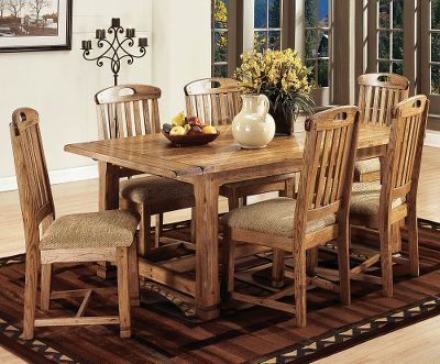 Entertainment Ensure you have enough extra seating with these slat-back side chairs. Constructed of beautiful distressed oak and veneer with polyester upholstered seats. Per 2. Imported. Height: 41. Color: Oak. - $405.99