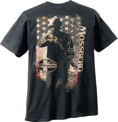 Entertainment Continuing their support of Americas proud heritage, Mossberg brings you this distinctive Mens American Tactical Short-Sleeve Tee Shirt that features screen-printed graphics of Old Glory behind an American soldier at the ready. Mossbergs logo on front left. 100% preshrunk cotton. Imported. Sizes: M-2XL. Color: Black. Size: Large. Color: Black. Gender: Male. Age Group: Adult. Material: Cotton. Type: Short-Sleeve Tee Shirts. - $19.99