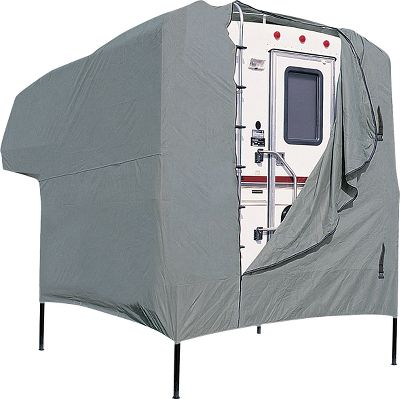 Entertainment Lightweight, rugged PolyPro 1 fabric repels water while letting moisture escape from inside the RV cover, preventing mildew. The elastic bottom provides a custom fit that keeps out dirt while standing up to harsh winds. Comes in a compact pouch with tie-down rope for easy storage and transportation. Imported. Sizes: Folding Cover 8-10, 10-12, 12-14, 14-16, 16-18. - $41.24