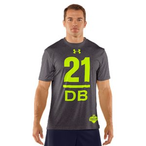 "Fitness Leon Has Officially Joined The Under Armour Family. We fully expect Sandcastle to redefine the word ""rookie"" with swagger x100,000,000,000,000...powered by the most innovative Brand in all of sports. Part of the NFL Combine Authentic CollectionLightweight Charged Cotton(R) has the comfort of cotton, but dries much fasterSignature Moisture Transport System wicks sweat away from the bodyAnti-odor technology prevents the growth of odor causing microbesDurable ribbed collar provides a comfortable fitCotton/PolyesterImported - $24.99"
