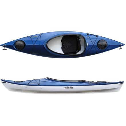 Kayak and Canoe Speedy, fun and ready for adventure, the Eddyline Sky 10 kayak offers high quality in an eye-pleasing design. Build with abundant stability that beginners will love, the Eddyline Sky 10 kayak moves easily when paddled at cruising speed on lakes, easy-going rivers and shorelines. What really stands out about the Sky 10 is its unique construction that offers the looks and performance of a composite kayak with the durability of a plastic hull. Co-extruded plastic laminate creates a hull that rivals the qualities of fiberglass-Eddyline calls it Carbonite 2000. Plastic is first shaped into a 2-layer sheet with durable interior and a an abrasion- and UV-resistant exterior. Then the sheet is formed into the hull of the kayak using very high temperatures and a vacuum. This 2-layer plastic laminate offers incredible stiffness and a hard, glossy appearance that resists abrasion and impact. Because the hull is plastic, it can also be easily repaired. Hard chines create responsive turns and enhance tracking. Large cockpit makes it easy to get into kayak and enhances comfort during long paddles. Thighbraces increase manueverability when putting the kayak on edge. 2 hatches store day-tripping gear. The Eddyline Sky 10 also features bow and stern bulkheads, bungee deck rigging and carry handles. - $844.93
