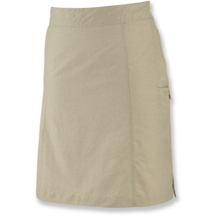 Solidify your travel wardrobe with the versatile and stylish Lidia skirt from Merrell. Moisture-wicking nylon/polyester blend fabric is soft, breathable and quick drying. Fabric provides UPF +50 sun protection, shielding skin from harmful ultraviolet rays. Hidden side zipper. Adjustable interior drawcord. Button and zip-secure side pocket. Closeout. - $34.73