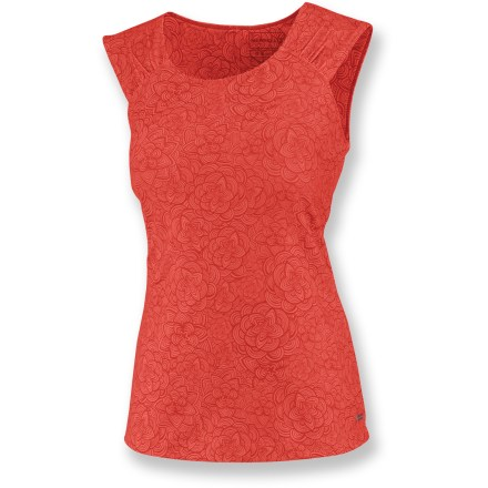 Fitness Light and airy, the beautiful Merrell Sundial top hugs you in all the right places and keeps you comfortable when it's warm out. Treated polyester moves moisture away from your skin and accelerates the evaporation process; spandex aids in shape retention. Wide shoulder straps conceal bra straps. Closeout. - $19.73
