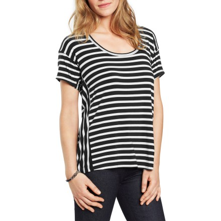 Camp and Hike The Nau Repose Stripe T-shirt is relaxed and comfortable, and its versatility impressive. Wear it with a skirt, shorts, capris or pants. Yarn-dyed modal fabric with a touch of spandex will maintain its shape wear after wear. Nau Repose Stripe T-shirt has a slight A-line and a relaxed fit. - $29.83