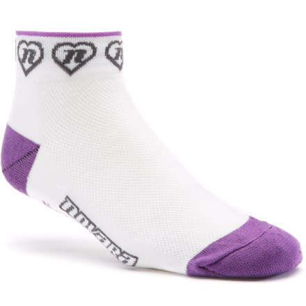 Fitness Novara Hearts 'N Repeater women's bike socks offer performance and comfort for any ride, letting you focus on the miles ahead, not your socks. Made with a blend of CoolMax(R) polyester, nylon and Lycra(R) spandex, Novara Hearts 'N Repeater socks wick sweat, breathe well and flex freely. Mesh over insteps prevents feet from overheating. Stretch cuffs hold socks gently but firmly in place. Smooth toe seams reduce chafing and blisters. *Discount will be applied when you check out. Offer not valid for sale-price items ending in $._3 or $._9. - $6.93