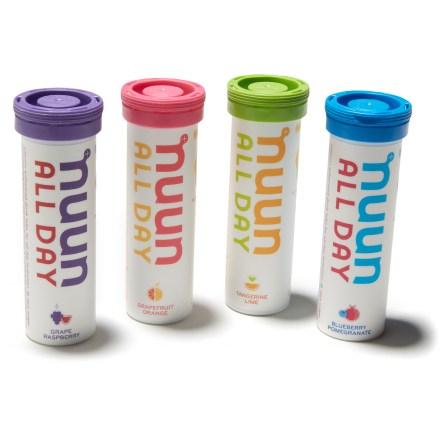 Camp and Hike This mixed 4-pack of NUUN All Day hydration tablets is the perfect way to stay hydrated throughout the day, whether you're at work or in the mountains. - $19.93