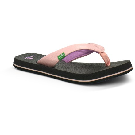 Fitness Featuring excellent cushioning and a great fit, the Sanuk Yoga Mat flip-flops for girls are her ticket to comfort all summer long. Broad synthetic leather straps wrap feet for a comfortable, secure fit. Polyester jersey linings are soft against skin and help manage moisture. Footbeds are made from yoga mats to ensure underfoot comfort. EVA midsoles supply cushioning and lightweight support. Hardened EVA outsoles deliver lightweight traction. All-synthetic construction makes the Sanuk Yoga Mat flip-flops vegan-friendly. - $10.83