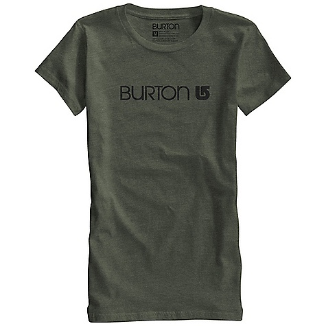 Snowboard Burton Women's Her Logo SS Tee DECENT FEATURES of the Burton Women's Her Logo Short Sleeve Tee 50% Cotton, 50% Polyester (Heather Heathers and Heather Blue-Ray) 100% Cotton (All Other Colorways) Silicone Fabric Treatment Screen Print on Front This product can only be shipped within the United States. Please don't hate us. - $22.95