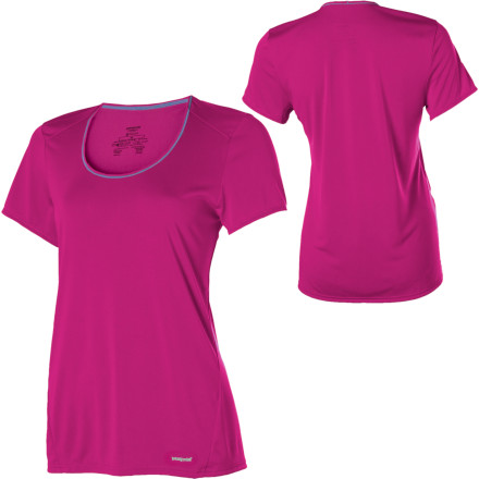 Fitness The lightweight fabric of the Patagonia Women's Capilene 1 Short-Sleeve T-Shirt helps you stay cool during high-output pursuits in hot weather. Whether you take this Patagonia shirt trail running or biking, its 100% recycled polyester material wicks moisture from your skin to keep you cool and collected. Is there ever an outing when you wouldn't appreciate a cool, dry, wicking tee' No, we didn't think so either. - $19.50