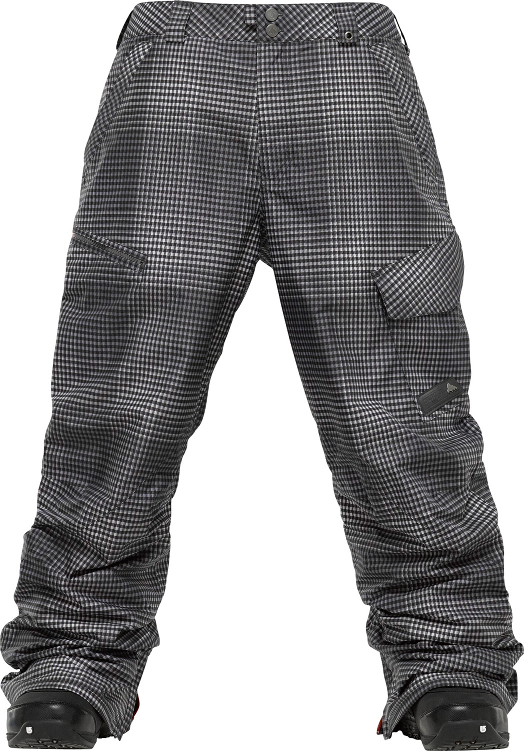 Snowboard Function for a fraction of the paycheck. Waterproof with optional warmth-the biggest bargain on the mountain.Key Features of the Burton Poacher Snowboard Pants: 10,000mm Waterproof 5,000g Breathability DRYRIDE Durashell 2-Layer Coated Fabric Sig Fit Printed Brushed Plain Weave Fabric (Gingham Fade Colorways) Printed Herringbone Fabric (Chalk Stripe Colorways) Raised Twill Fabric (Solid Colorways) Also available with NEW 3M Thinsulate Insulation (40G throughout) Size: XS-XXL Glove Loop Fully Taped Seams Embossed Taffeta Lining (Insulated Colorways) Cargo Pocket and Inset Zippered Stash Pocket Inner Thigh Vents Fully Taped Seams Headphone Cable Port Integrated Waist Adjustment NEW Antimicrobial Microfleece Fly and Waistband Key Clip Ghetto Slits Snap-Up Leg Lifts Keep Your Cuffs Scuff-Free DRYRIDE Fabrication with DWR Coating Microfleece-Lined Handwarmer Pockets Articulated Knees Engineered Lining Bomber YKK Zippers Denim Shank Closure Jacket-to-Pant Interface Taped Seams Boot Gaiter with Gripper Elastic Cuffs Pass Pocket/Ticket O-Ring Butt Pockets Belt Loops Microfleece-Lined Fly and Waistband Ghetto Slits - $90.95