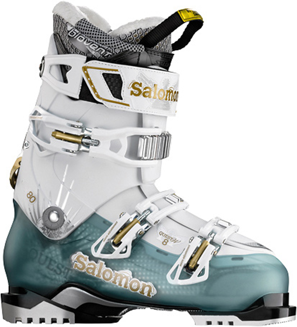 Ski Key Features of the Salomon Quest 8 Ski Boots Cold Sea Translucent/White: Ride & Hike Technology Backbone release Single canting Light back spoiler My Custom Fit Comfort Biovent Flex: 90 Last: 100 - $324.95
