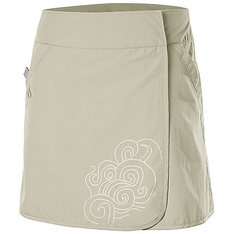 Isis Women's Riviera Skirt DECENT FEATURES of the Isis Women's Riviera Skirt Durable, quick-dry Fabric for on water activities Water-inspired screen print Wrap around design with hidden hook and loop closure for adjustability Secure hook and loop closure pocket with woven pull-tab for quick access Modern rise The SPECS Length: 17in. Fabric: 100% Nylon - $48.95