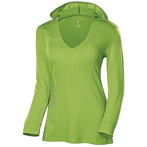 Isis Women's Como Hoodie DECENT FEATURES of the Isis Women's Como Hoodie Dri-Release Quick dry properties for ultimate dryness Fresh Guard finish prevents odor Stylish screen print design 3/4in. length sleeves with convenient self-cuff The SPECS Body Length: 28in. Fabric: 81% Polyester, 14% Cotton, 5% Spandex - $48.95