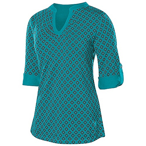 Isis Women's Stella Tee DECENT FEATURES of the Isis Women's Stella Tee Contrast structured neckline Button and tab sleeve detailing Easy Care/Easy Wear - packs easy, maintains shape, and wrinkle resistant The SPECS Body Length: 25in. Fabric: 75% Cotton, 20% Modal, 5% Spandex - $48.95